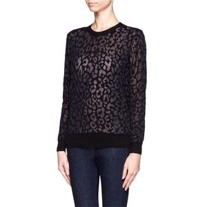 Theory jaidyn leopard print sweater black small